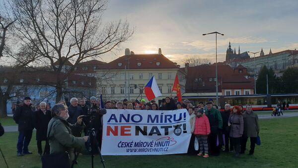 Společné foto aktivistů na mítinku proti NATO - Sputnik Česká republika