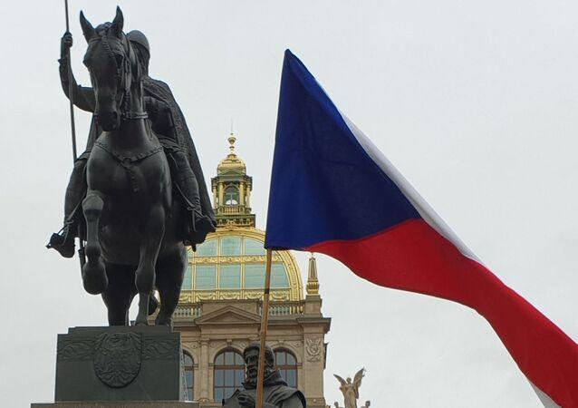 Vzpomínková akce na Václavském náměstí k 80. výročí okupace Československa