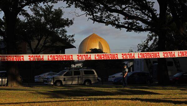 Uzavřené okolí u mešity Al Noor ve městě Christchurch, Nový Zéland - Sputnik Česká republika