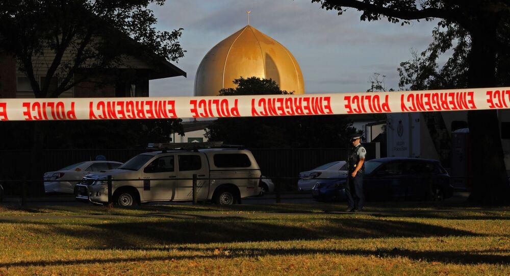 Uzavřené okolí u mešity Al Noor ve městě Christchurch, Nový Zéland