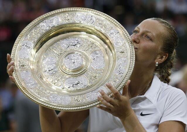 Petra Kvitová po vítězství Wimbledonu v roce 2014