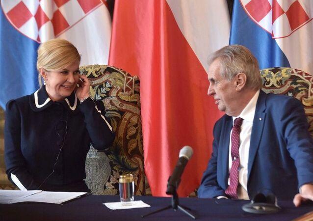 Prezident Miloš Zeman se setkal s chorvatskou prezidentkou Kolindou Grabarovou Kitarovičovou na Pražském hradě