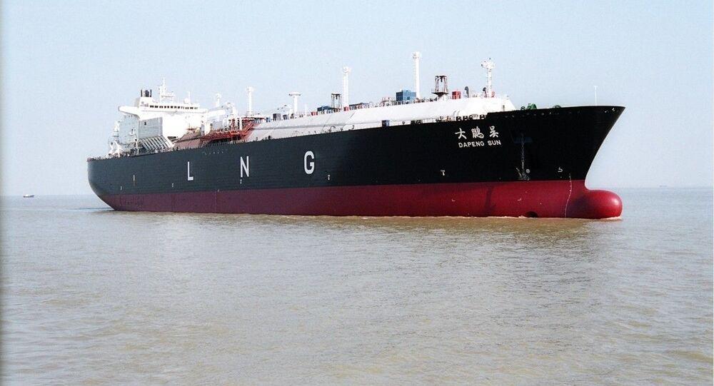 Čínský tanker k přepravě zkapalněného plynu. Ilustrační foto