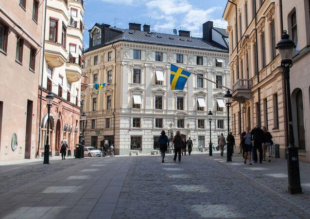 Švédské vlajky ve Stockholmu