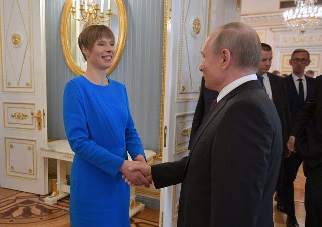 Ruský prezident Vladimir Putin a estonská prezidentka Kersti Kaljulaidová v Moskvě
