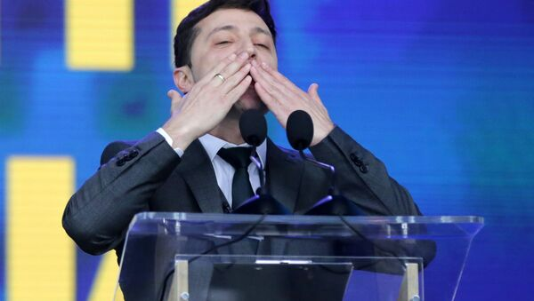 Kandidát na ukrajinského prezidenta Volodymyr Zelenskyj - Sputnik Česká republika