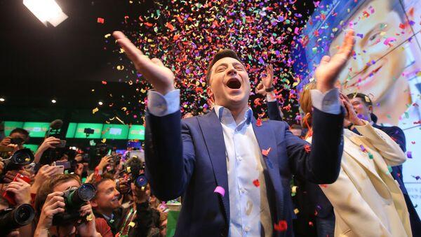 Volodymyr Zelenskyj po vyhlášení předběžných výsledků 2. kola prezidentských voleb - Sputnik Česká republika