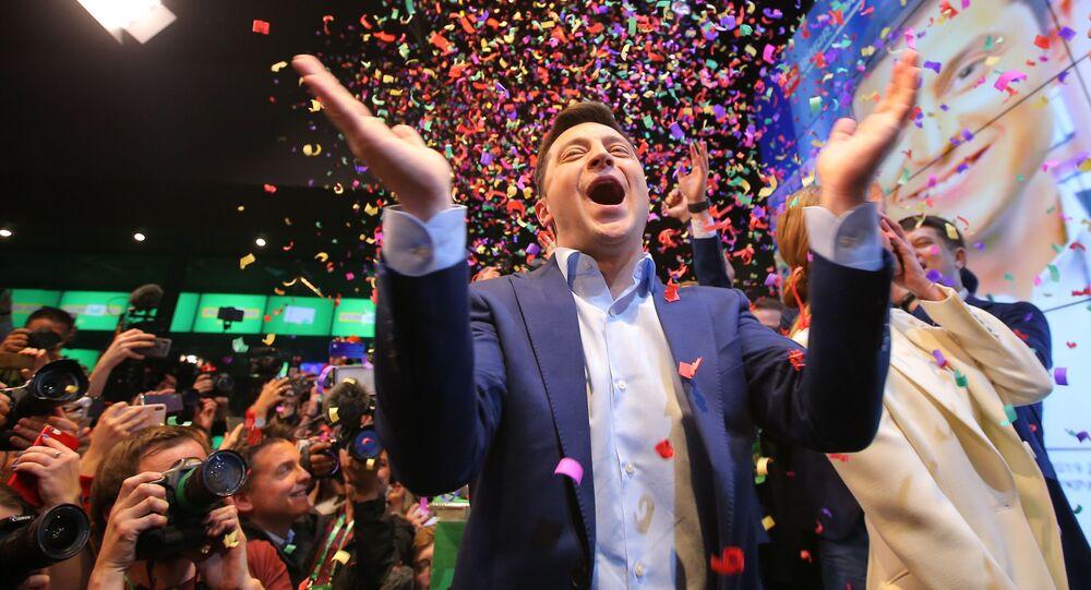 Volodymyr Zelenskyj po vyhlášení předběžných výsledků 2. kola prezidentských voleb