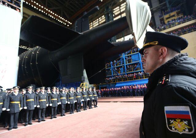 Uvedení jaderné ponorky Belgorod v Arkhangelsku