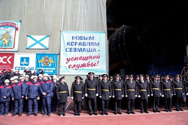 Spuštění ruské jaderné ponorky Belgorod na vodu v Severodvinsku. - Sputnik Česká republika