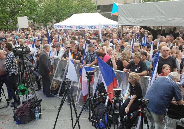 Akce SPD s hlavními nacionalisty Evropy na Václavském náměstí