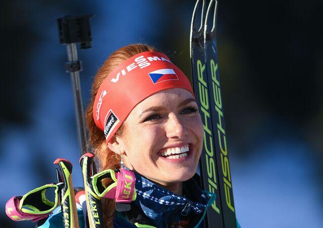 Gabriela Koukalová po vítězství ve sprintu na MS v Hochfilzenu