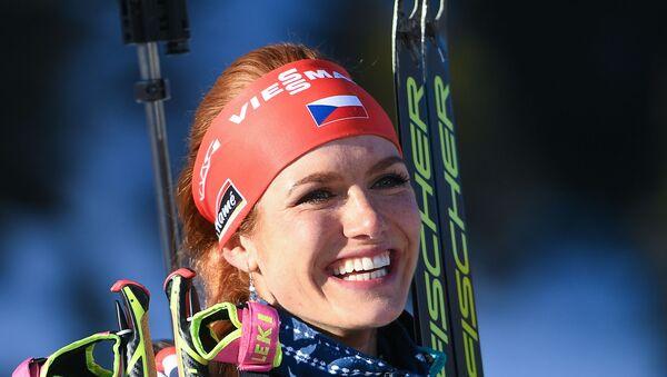 Gabriela Koukalová po vítězství ve sprintu na MS v Hochfilzenu - Sputnik Česká republika