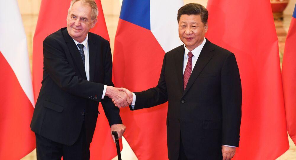 Český prezident Miloš Zeman a čínský prezident Si Ťin-pching během jednání v Pekingu