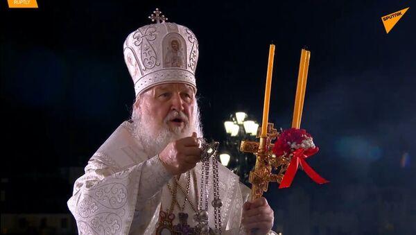 To je krása svátku! V Rusku Patriarcha Kirill provedl velikonoční službu v katedrále Krista Spasitele - Sputnik Česká republika