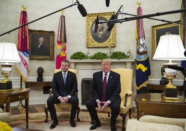 Setkání slovenského premiéra Petera Pellegriniho s Donaldem Trumpem v Bílém domě