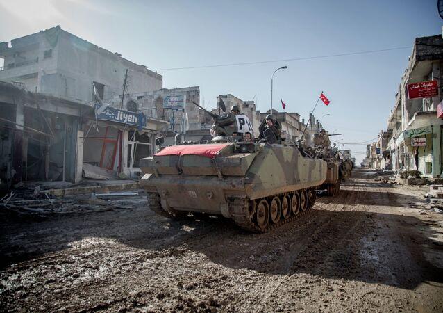 Turecké obrněné vozidlo v Sýrii