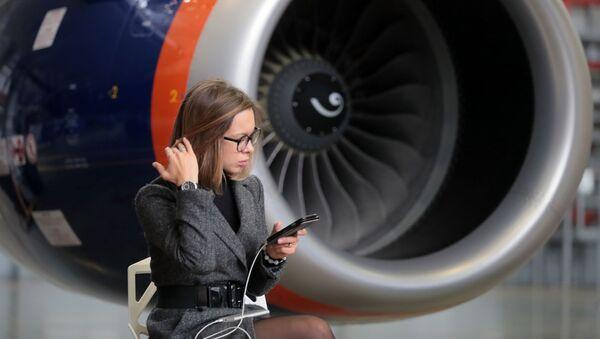 Motor letadla Sukhoi Superjet 100. Ilustrační foto. - Sputnik Česká republika