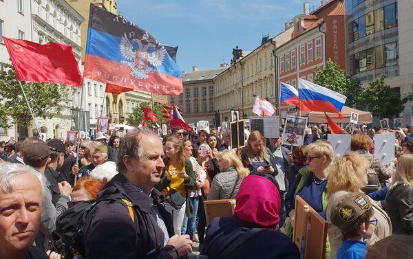 áběry z Nesmrtelného pluku, který prošel Prahou 8. 5. 2019 - Sputnik Česká republika