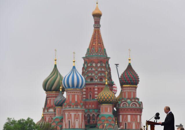 Projev ruského prezidenta Vladimira Putina na přehlídce vítězství na Rudém náměstí v Moskvě