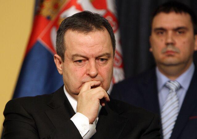 Srbský ministr zahraničí Ivica Dačić na tiskové konference v Bělehradu. Ilustrační foto