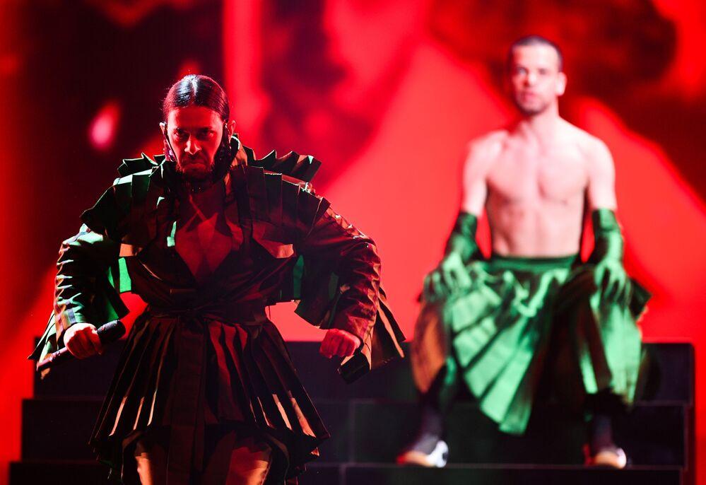 Conan Osiris - reprezentant Portugalska s písní Telemóveis během zkoušky prvního semifinále Eurovize 2019 v Tel Avivu