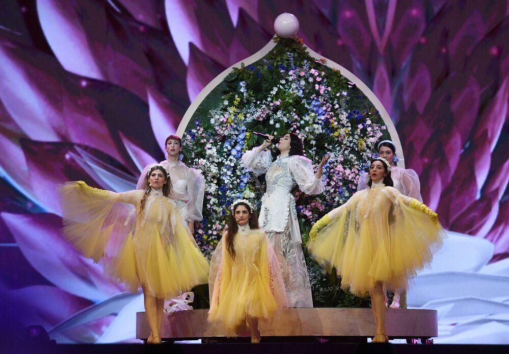 Katerine Duska – reprezentantka Řecka s písní Better Love během zkoušky prvního semifinále Eurovize 2019 v Tel Avivu