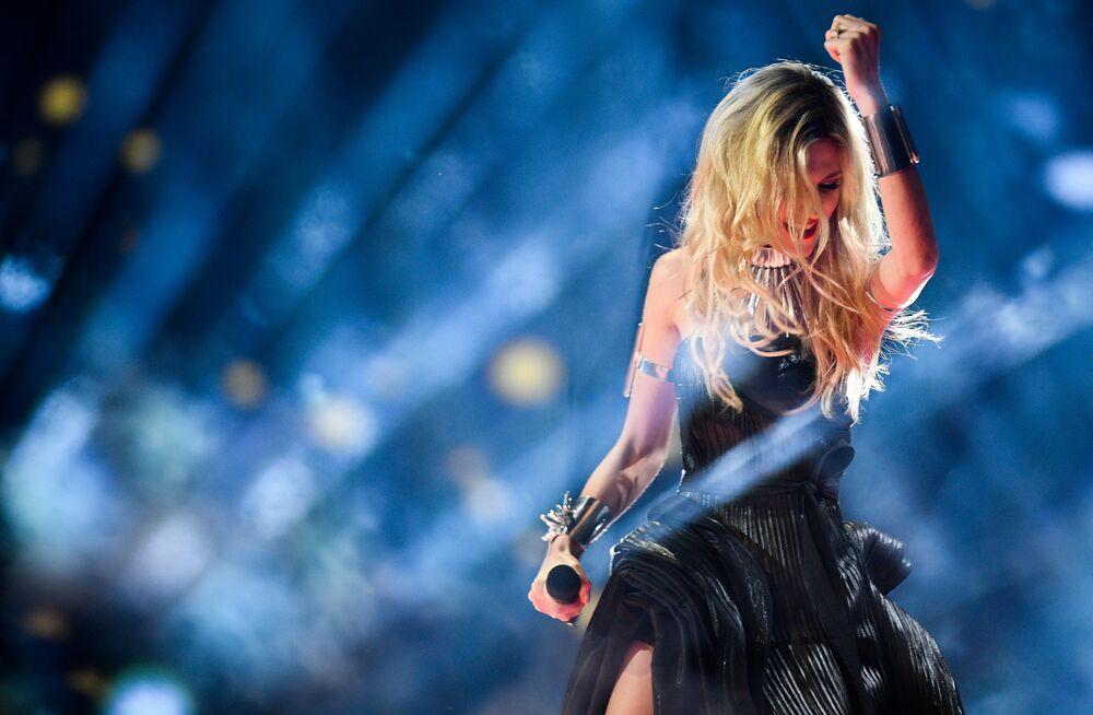 Nevena Božović – reprezentantka Srbska s písní Kruna během zkoušky prvního semifinále Eurovize 2019 v Tel Avivu