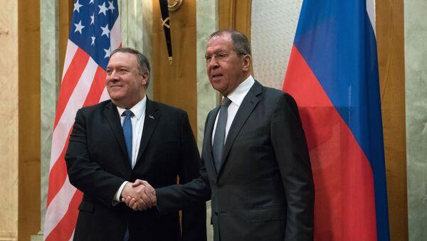 Americký ministr zahraničí Mike Pompeo a ruský ministr zahraničí Sergej Lavrov v Soči, 14. května 2019 - Sputnik Česká republika