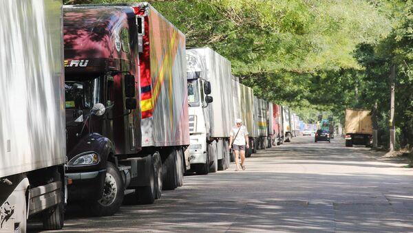 Fronta kamionů je asi 3 km dlouhá - Sputnik Česká republika