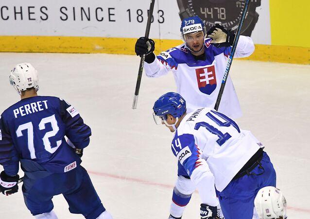 Slovenský útočník Libor Hudáček oslavuje gól v zápase proti Francii.