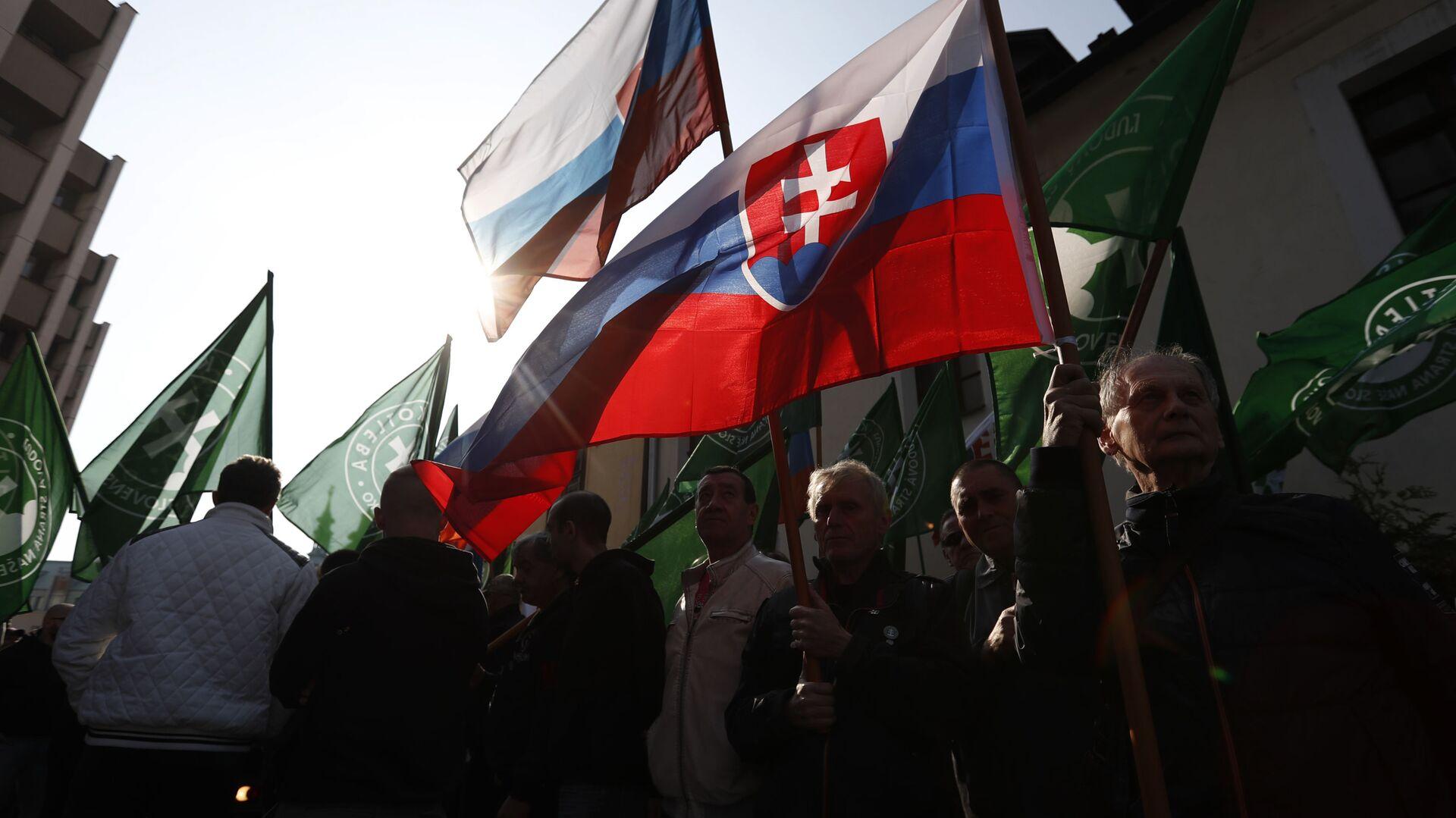 Zastánci radikálně pravicové strany Kotleby - Lidová strany Naše Slovensko dne 9. dubna 2019 - Sputnik Česká republika, 1920, 01.07.2021