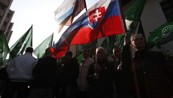 Zastánci radikálně pravicové strany Kotleby - Lidová strany Naše Slovensko dne 9. dubna 2019 - Sputnik Česká republika
