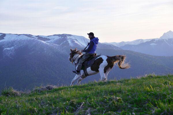 Inspektor v severní oblasti Kavkazské chráněné krajinné oblasti na koni. - Sputnik Česká republika
