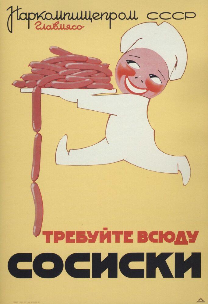 """Reklamní plakát Národního komisariátu pro potravinový průmysl SSSR """"Žádejte všude párky"""". Moskva, 1937."""