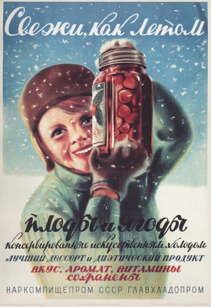 Reklamní plakát Národního komisariátu pro potravinový průmysl SSSR, Moskva, 1938.