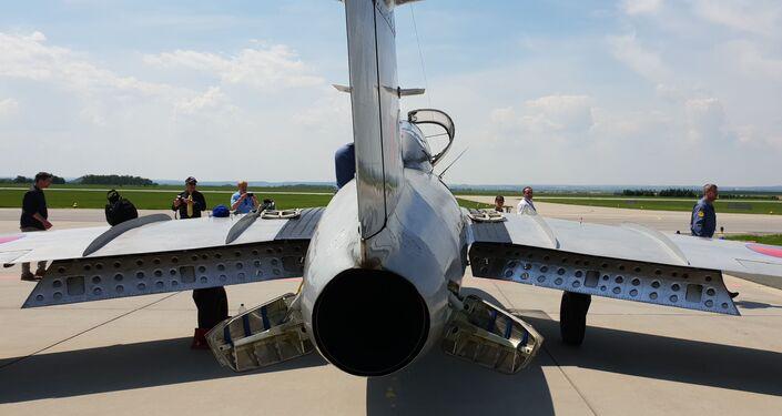 MiG-15 vyrobený v ČSSR na Dni otevřených dveří na letišti v Čáslavi